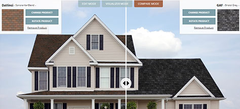 RoofingVision roofing software for viewing roofing products on home