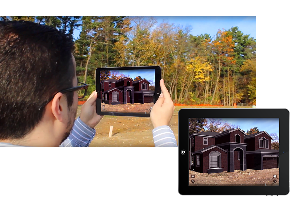 person holding tablet viewing augmented reality house on empty lot