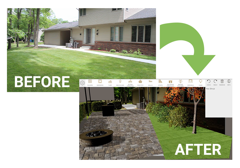 before and after backyard landscape design in 3D